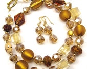 Topaz Glass Bead Necklace and Earring Set, Gold, Topaz and Brown Necklace Combo