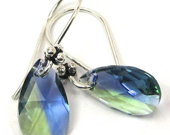 Provence Lavender Chrysolite Blend Teardrop Swarovski Crystal Earrings, New Swarovski Color for Spring 2014
