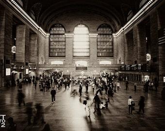 Grand Central Terminal Photo, Sepia, New York, City, Urban, NYC, Train, Transporatation, Subway, Motion, Commuter, Black, White