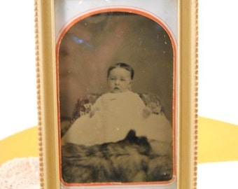 Old Tintype Photo of Baby in Long White Dress Framed