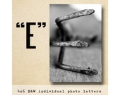 Letter E Alphabet Photography  Black & White 4x6 Photo Letter UNFRAMED