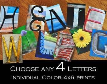 Alphabet Photography 4x6 Color  Individual Photo Letters ANY 4 LETTERS
