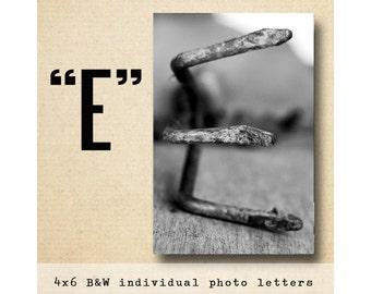 Letter E Alphabet Photography  Black & White 4x6 Photo Letter UNFRAMED