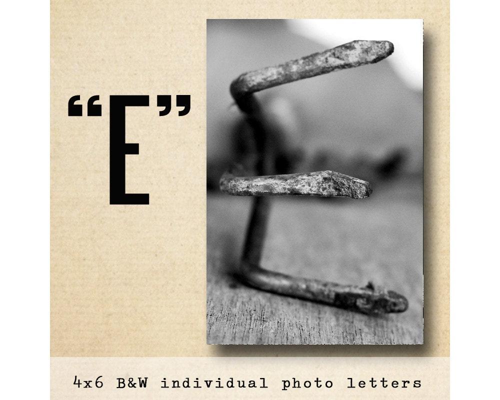 Letter e alphabet photography black white 4x6 photo letter for Alphabet photo letters