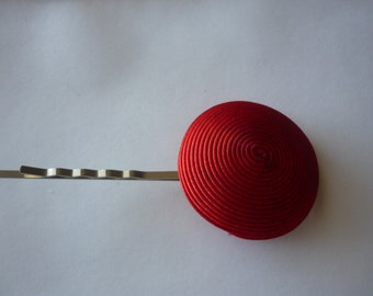 Red Fabric Hair Pin
