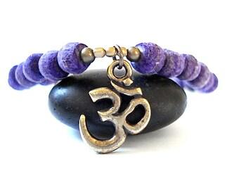 Om Yoga Bracelet, Brass Om Charm, Purple Olivewood Beads, Beaded Mala Bracelet