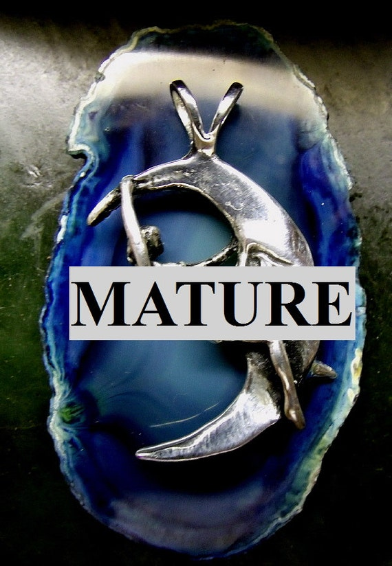 Mature Naked Woman Big Halfmoon Pendant  Solid Sterling Silver Domestic Free