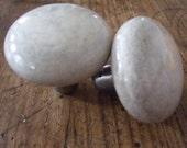 Crackled cream ceramic door knob