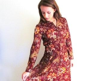 Vintage Long Hippie Dress, 1960 Maxi Dress, 60's Paisley Dress, Brown Poly Dress