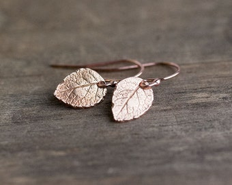 Tiny Rose Gold Leaf Earrings - Jewelry Gift - Bridesmaids Gift - Woodland Rose Gold Jewelry by Burnish