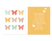 Childrens Art Print Spring Decor Print Poster Digital Print Kids Wall Art Butterfly Spring Poster Print Playroom Nursery Yellow Typography