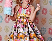 SALE 5/6 Circus Party Knot Dress, Girls Birthday Dress, Ready to Ship