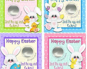 Easter Scratch Off Cards Party Game scratch tags Family Party Scratch off game Holiday favors bunny  Easter Holiday game Printed 12 Precut