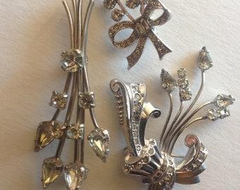 Rhinestone Brooches Vintage Bouquet Bridal Craft lot 376