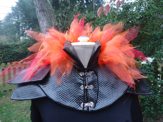 Katniss Everdeen Girl on Fire Hunger Games Fire cape with collar black PVC and sheer organza one sits fits all FREE ship today in US