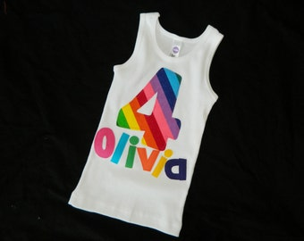 Girl tank top with bright bubble gum yellow green blue orange rainbow colors personalized birthday number, name applique NB -16