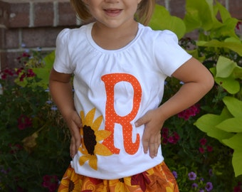 2 piece Harvest toddler, tween, baby shirt autumn fall sunflower applique, personalized initial, orange pumpkins leaves skirt sizes NB - 16