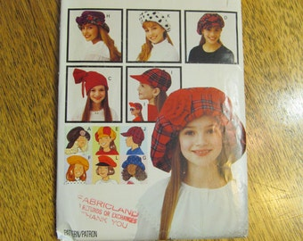 FUNKY Children's Hats in 3 Sizes - Wide Brimmed Hat, Hunter's Cap, Stocking Cap, Beret, More - UNCUT Sewing Pattern Butterick 6942 / 269
