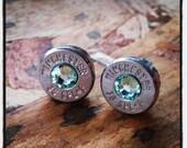 Bullet Stud Earrings -Gunpowder and Glitz- Light Green