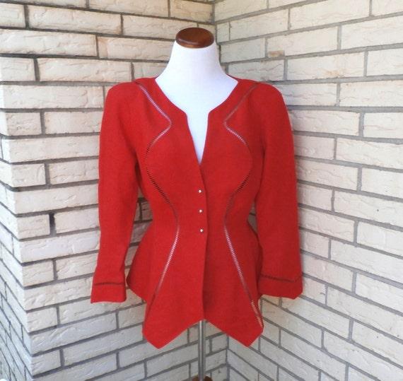 1980's Red Thierry Mugler Designer Jacket Blazer 42 12