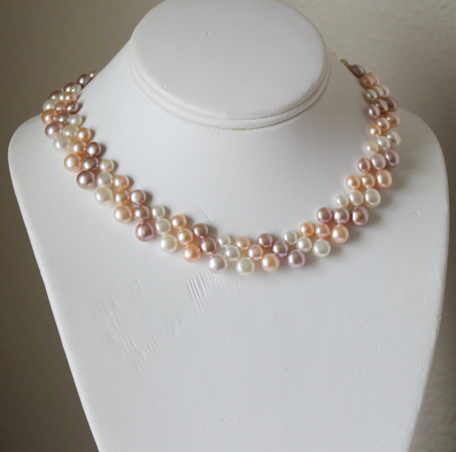 Multi Row Pearl Necklace: Floral Triple Row Fresh Water Pearl Necklace Multi Strand