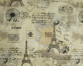 Vintage Paris Eiffel Tower Post Mark Tan Cotton Fabric Fat Quarter or Custom Listing