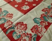 Vintage Tablecloth Red Pink Geraniums flowers Valentine colors