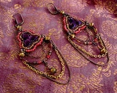 Arabian Nights-beaded bead embroided glass sees beads earrings with chains and faceted beads