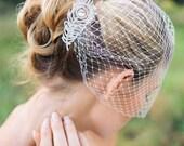 Veils, bridal Birdcage veil with rhinestone comb- ORSA