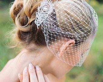 Veils, bridal Birdcage veil with peacock rhinestone comb- ORSA