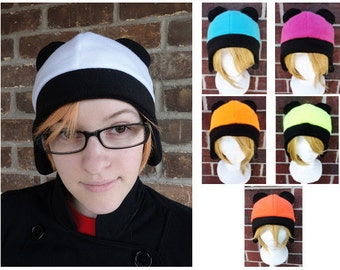 Panda Fleece Hat - Any Color - Neon Orange, Yellow, Teal, Pink - Fleece Hat Adult, Teen, Kid - A winter, nerdy, geekery gift!