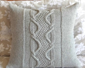 Cable Knit Pillow Cover, Light Gray, wool, 20 x 20.
