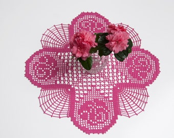 Crochet doily, tabletop decor, lace centerpiece,azalea, honeysuckle pink, deep rose, heirloom quality, cottage chic, mothers day, home decor