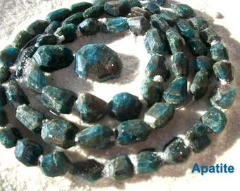 APATITE BEADS Loose Faceted Freeform Chunky 12mm Sea Salt Handcut Natural Peacock Teal Gold/Brown Matrix Psychic Dreams Vision Inspiration
