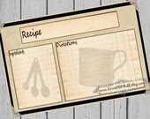 Rustic Recipe Cards Printable 4x6 Recipe Card 3x5 Country Kitchen Measuring Cup & Spoons 3 Sizes