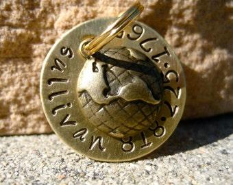The Sullivan (#060) - Pet Tag Unique Handstamped Travel Antique Brass World Globe Pet ID Dog