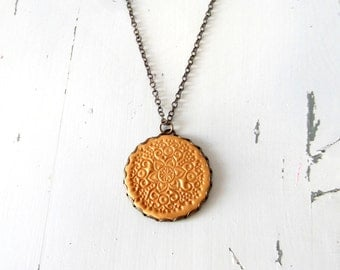 Gold coin necklace,  vintage Style necklace, Dark golden coin  pendant ,charm necklace, long  coin necklace, lace necklace