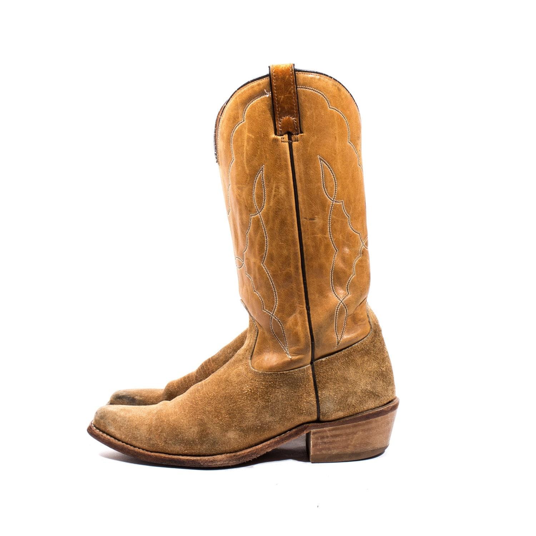 vintage acme suede cowboy boots honey colored shaft wih