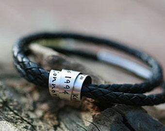 Personalised Secret Scroll Double Black Wrapped Leather Bracelet
