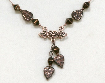 Autumn Leaves and Copper Celtic Knot Necklace