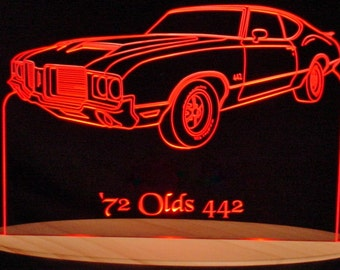 "1972  Olds Cutlass 442 Acrylic Lighted Edge Lit LED  Sign 13""  72   VVD10 Full Size Made in the USA"