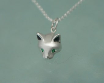 forest cat  pendant in silver pick your eye color
