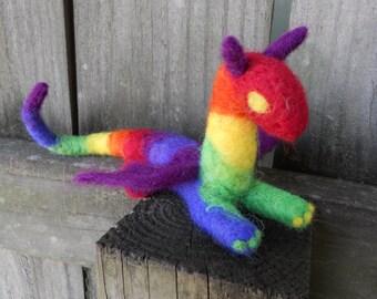 Rainbow Felt Dragon / Needle Felted Magic Fantasy Animal / Waldorf Inspired Toy / LGBT Pride / Michaelmas Decoration