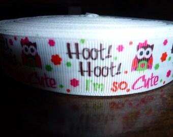 """Hoot Hoot Cute grosgrain  7/8""""  5 yards"""