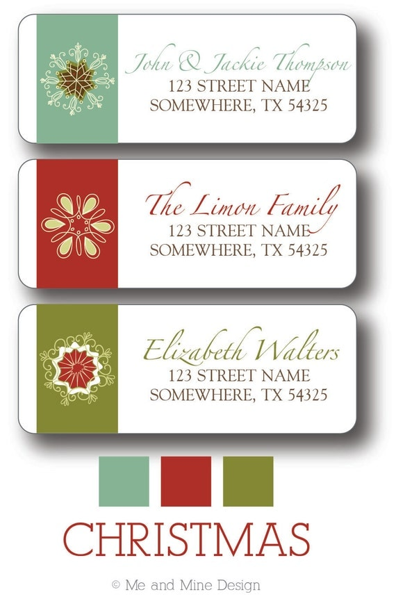 Christmas return address labels snowflake for Christmas mailing labels