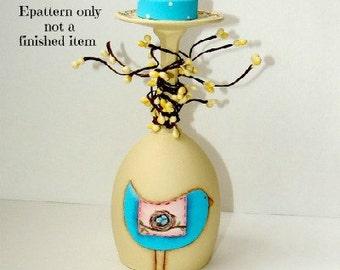 EPATTERN, #0029 Spring blue bird, wine glass, candle holder, paint your own, PATTERN, digital download,bluebird pattern,folkart, prim