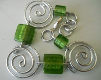 Silver Spring Whisk and Hard Green Candy Bracelet