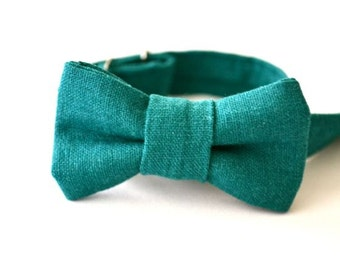 Infant Bow Tie in Teal Linen- Newborn Bowtie