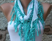 White Scarf Cotton Scarf  Cowl with  Lace Edge fatwoman - Bridesmaids Gifts