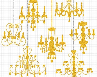 80% OFF SALE Gold Glitter Clipart, Chandelier Silhouette Digital Clipart Collection, Commercial Use Wedding Invitation Clip Art